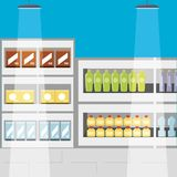 Supermarket shelves icon. Supermarket shelves with products icon colorful design vector illustration Royalty Free Stock Image