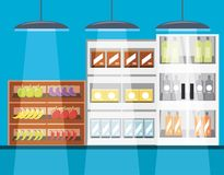 Supermarket shelves icon. Supermarket shelves with products icon colorful design vector illustration Royalty Free Stock Photo