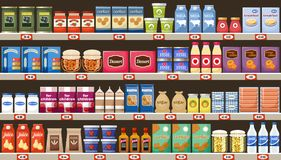Supermarket, shelves with products and drinks. Vector royalty free illustration