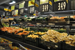Supermarket. Shelves with products in supermarket, hypermarket Royalty Free Stock Photos