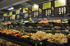 Supermarket. Shelves with products in supermarket, hypermarket Royalty Free Stock Image