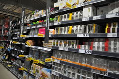 Supermarket. Shelves with products in supermarket, hypermarket Stock Image