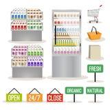 Supermarket shelves set Stock Images