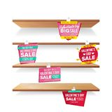Supermarket Shelves, Valentine s Day Sale Advertising Wobblers Vector. Retail Sticker Concept. Mega Sale Design Concept. Empty Shelves, Valentine s Day Sale Vector Illustration