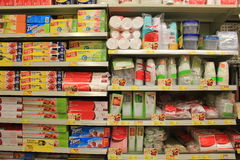 Supermarket shelves Stock Image