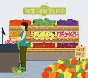 Supermarket shelves of vegetables. Shelves with vegetables in a supermarket. Vector illustration vector illustration