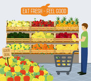 Supermarket shelves of vegetables. Shelves with vegetables in a supermarket. Vector illustration Stock Images