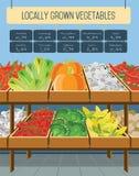 Supermarket shelves of vegetables. Shelves with vegetables in a supermarket. Vector illustration stock illustration