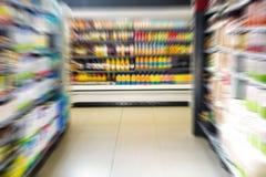 Supermarket shelves. View of supermarket shelves Royalty Free Stock Photos