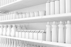 Supermarket Shelving Rack with Blank Products or Goods in Clay S stock photography