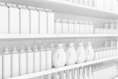 Supermarket Shelving Rack with Blank Products or Goods in Clay S royalty free illustration