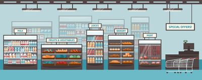 Supermarket shelvings and glass cases with various products - milk, fruits, vegetables, juices, bakery, meat. Food. Retailer, grocery store or shop. Colored royalty free illustration