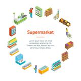 Supermarket or Shop Banner Card Circle Isometric View. Vector Stock Illustration