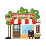 Supermarket shop facade vector. Royalty Free Stock Photos