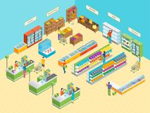 Supermarket or Shop Interior with Furniture Isometric View. Vector. Illustration of Grocery Market or Mall with Showcase and People Royalty Free Stock Photo