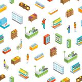 Supermarket or Shop Interior Seamless Pattern Background Isometric View. Vector Stock Illustration