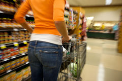 Supermarket Shopper blurred Stock Images
