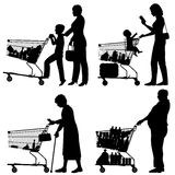 Supermarket shoppers. Editable vector silhouettes of people and their supermarket shopping trolleys with all elements as separate objects stock illustration