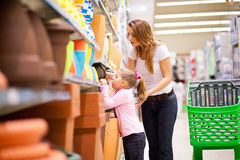 Supermarket shopping Stock Photos