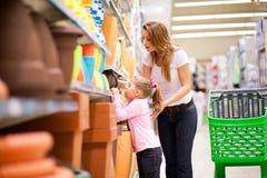Supermarket shopping Stock Photos