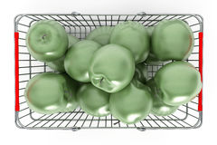 Supermarket Shopping Basket filled with Green Apples Stock Photography