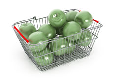 Supermarket Shopping Basket filled with Green Apples Stock Photo