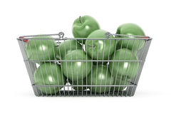 Supermarket Shopping Basket filled with Green Apples Royalty Free Stock Photos