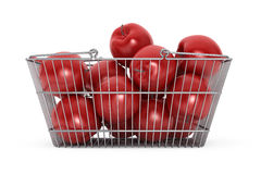 Supermarket Shopping Basket filled with Red Apples Royalty Free Stock Photo