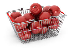 Supermarket Shopping Basket filled with Red Apples Royalty Free Stock Photos