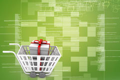 Supermarket shopping cart 3d full of gift boxes Illustration Stock Photos