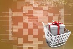 Supermarket shopping cart 3d full of gift boxes Illustration Royalty Free Stock Photo