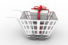 Supermarket shopping cart 3d full of gift boxes Stock Image