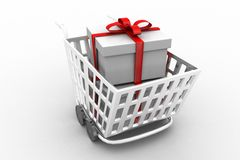 Supermarket shopping cart 3d full of gift boxes Royalty Free Stock Image
