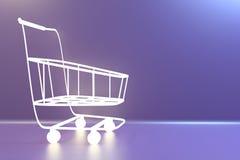 Supermarket Shopping Cart. 3d rendering stock image