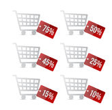 Supermarket shopping cart with discount tags Royalty Free Stock Image
