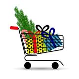 Supermarket shopping cart full of holyday gifts and fir-tree. Vector illustration. Royalty Free Stock Image