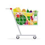 Supermarket shopping cart. Shopping cart icon. Supermarket shopping cart in flat style with food. Vector illustration Royalty Free Stock Image
