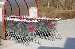 Supermarket shopping cart Stock Photos