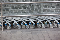 Supermarket shopping cart trolleys Stock Photography