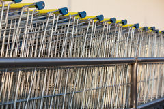 Supermarket shopping cart trolleys Royalty Free Stock Photography
