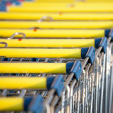 Supermarket shopping cart trolleys Royalty Free Stock Images