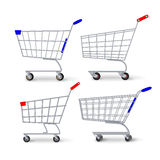 Supermarket Shopping Cart Vector. Set Empty Classic Chrome Cart Trolley Or Basket Isolated Royalty Free Stock Images