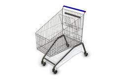 supermarket shopping cart on white background Stock Image