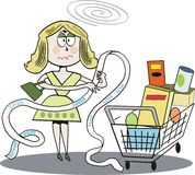 Supermarket shopping cartoon stock illustration