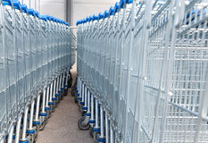 Supermarket shopping carts Royalty Free Stock Images