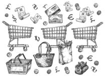 Supermarket shopping groceries objects vector illustration