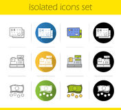 Supermarket shopping icons set. Flat design, linear, black and color styles. Credit cards, cash register, money.  vector illustrations Stock Photos