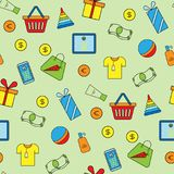 Supermarket shopping icons set seamless pattern background vector illustration. Royalty Free Stock Images