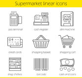 Supermarket shopping linear icons set Stock Photo
