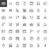 Supermarket shopping products line icons set Stock Photo
